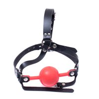 Wholesale bdsm head gear resale online - BDSM Silicone Mouth Gag Fetish Head Harness Large Ball Gags Lockable Bondage Gear Adult Sex Toys For Women RED ASL KQ0039