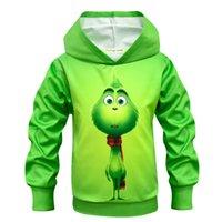 moletom com capuz moleton bordado com capuz venda por atacado-moda infantil Shrek The Grinch máscara menino 3D Hoodies crianças Shrek shirt Hoodie engraçado Hip Hop meninos Streetwear 3D Imprimir menina Moletons