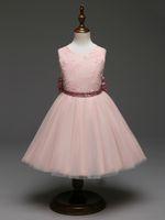 padrões de vestido de noiva ruffles venda por atacado-2019 Crianças Bonitos Vestidos Padrão Arco para Meninas 6 Cores vestido de Baile com Babados e Miçangas para Um Casamento para o Vestido de Comunhão