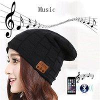 ubit hoparlör toptan satış-Çıkarılabilir Bluetooth Kulaklık Kulaklık Hoparlör Mikrofon Spor Dış Mekan Şapka En Hediye ile 2019 Kablosuz Bluetooth Beanie Hat Cap Topsell