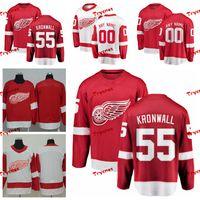 kronwall jersey venda por atacado-2019 Detroit Red Asas Niklas Kronwall Jerseys Personalizar Casa Camisas Vermelhas # 55 Niklas Kronwall Hóquei Jerseys S-XXXL C Patch