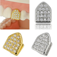 18K Gold Plated Copper Teeth Braces Punk Hip Hop Diamond Single Teeth Grillz Dental Mouth Fang Fake Grills Tooth Cap Cosplay Rapper Jewelry