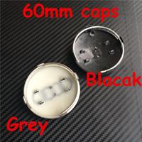 bouchon de moyeu de roue audi achat en gros de-Insignes de voiture Moyeu de roue Center Center Cap Capsules Couverture Badge Emblème Style de voiture 60mm Gris Noir pour Audi RS4 S3 S4 A3 A4 A6 A8 TT 4B0601170