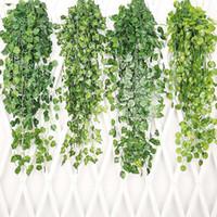 corona colgante para la boda al por mayor-Colgando hojas de vid plantas de hierba artificial jardín boda decoraciones del partido decoración de la pared flores decorativas guirnaldas WX9-1416