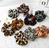 ingrosso rhinestones rotondi in metallo flatback-9 Color Women Girls Leopard Color Cloth Pettini elastici per capelli Accessori Ponytail Holder Hairbands Rubber Band Scrunchies