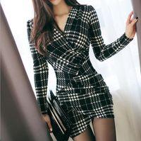 vestido longo elegante do escritório venda por atacado-Vestidos da manta do vintage elegante primavera mulheres manga comprida bodycon escritório lady trabalho de negócios dress lápis dress