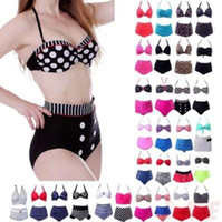 ingrosso bikini polka-19 Styles Cutest Retro Costume da bagno Vintage Push Up Bikini a vita alta Set Polka Dot Bikini Outdoor costumi da bagno 2 pz / set CCA11566 500 set