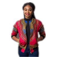 ingrosso giacche india-Poliestere Sexy Indie Folk Womens cappotto del rivestimento di base Dashiki africano femminile stampato Bomber casuale brevi autunno Nuovo formato S-XL