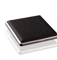 caixa preta da caixa de tabaco de cigarro venda por atacado-Hot Black Bolso De Couro De Metal de Tabaco 20 Cigarro Fumo Titular Caixa De Armazenamento Caixa de Publicidade Presentes Do Negócio