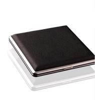 ingrosso caso di scatola nera di sigaretta nera-Hot Black Pocket in pelle di metallo tabacco 20 scatola di immagazzinaggio scatola di immagazzinaggio di sigaretta di fumo di sigaretta Pubblicità regali aziendali