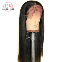 Wholesale full lace human hair glueless wig for sale - Group buy Honrin Hair Full Lace Wig Silky Straight Pre Plucked Bleached Knots Brazilian Virgin Human Hair Lace Front Wig Density Glueless