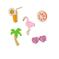 ingrosso spille da spiaggia-Summer Beach Palm Flamingo Sunglass Brooch Lepal Pins Distintivo Gioielli di moda per donna Uomo Will e Sandy Drop Shipping