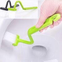 typ toilettenbürste großhandel-Haushaltsreinigungswerkzeuge Zubehör Reinigungsbürsten Heiße tragbare Toilettenbürste Scrubber V-Typ Cleaner Clean Brush Bent Bowl Handle # 32743