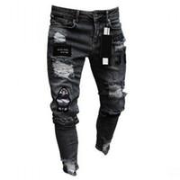 buraco voador venda por atacado-Homens Hot Vender Buraco Moda Jeans Reta Masculino Zipper Casual Calças Estações Motorcycle Elastic Pants