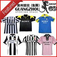 camiseta de fútbol 85 al por mayor-Juventus fútbol retro Jersey 84 85 95 96 97 98 91 Inicio de distancia rayas del Piero 1984 1985 1995 1996 1997 1998 1991 camisa Football S-XXL