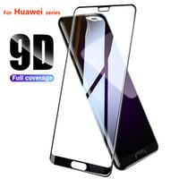 huawei koruyucu çıkıyor toptan satış-9D Huawei P20 Lite Için Tam Kapak Temperli Cam 2019 Onur 10i 20i V20 Nova 4E 3i Y9 2019 Ekran Koruyucu Koruyucu Film