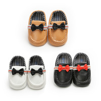 Wholesale pea bow shoes resale online - 2019 spring summer Baby Peas shoes Newborn Infant gentleman Bow First Walkers Non slip Soft bottom Toddler shoes colors C6415