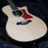 incrustación de guitarra eléctrica acústica al por mayor-JEAN6052 Guitarra acústica eléctrica HZ-916 de alta calidad Solid Top Ablone Inlay Ebony Fingerboard Bone NutBridgeSaddle