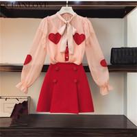 kore bayanlar kıyafetleri toptan satış-OCEANLOVE Ofis Lady Zarif Baskı Şifon Bluz + katı Düğme Sıcak Şort 2 Parça Kadın Setleri 2019 Bahar Kore 11251 Suits