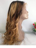 Wholesale ombre human braiding hair resale online - Honey Blonde Ombre Human Hair wigs Glueless Raw Indian Loose Wave Lace Front wigss Colorful F4 Wavy Braided Full Lace wigs For Black Wome
