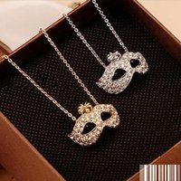 Wholesale mask pendants resale online - Statement Necklaces Fine Jewelry Gold plated Full Rhinestone Bohemian Mask Pierced Necklaces Pendants
