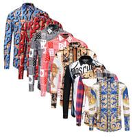 productos para adelgazar gratis al por mayor-Nuevos productos Camisa casual para hombres de flores 2018 Color de impresión Camisa de seda Medusa delgada Código asiático de manga larga Envío gratis M-2XL