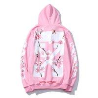 ingrosso pullover di fiori rosa-OFF OW 18FW maglione rosa fiori di ciliegio uomini fiore di pesco e donne coppia bianca intorno al collo più velluto con cappuccio m-2XL
