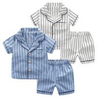 короткая полосатая пижама оптовых-Toddler Boy Clothes Short Sleeve Striped Tops+Shorts Pajamas Outfit vetement enfant garcon jongens kleding kids summer clothes