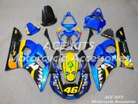 kit de carenado yamaha r6 azul al por mayor-ACE KITS Carenado de motocicleta para YAMAHA YZF R6 1998-2002 Inyección o Compresión Carrocería glamorosa azul NO.2300
