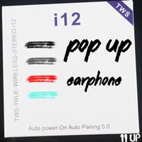 kablosuz bluetooth toptan satış-En ucuz i12 TWS kablosuz Bluetooth kulaklık desteği pop up renkli kulakiçi kulaklık müzik kulaklıklar için iPhone X Android samsung