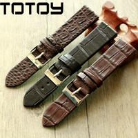 bracelet de montre en cuir de crocodile achat en gros de-Bracelets de montre TOTOY en cuir de crocodile assortis, Bracelets de montre antiques Rretro, bracelet en cuir pour homme de 18 20 22MM, livraison rapide