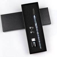 caneta padrão venda por atacado-Padrão criativo Handmade multifunções Vidro Dip Pens Mermaid / Flor Transparente Assinatura Cristal Ink Fountain presente Pen