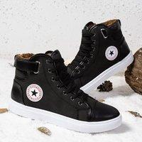 marka tuval dantel ayakkabıları toptan satış-2019 Sonbahar Kış Moda Marka Tuval Ayakkabı Erkekler Klasik High Sneakers Beyaz Siyah Deri Lace Up Gençlik Erkek CasualT02 Tops