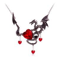 tierkreis edelsteine großhandel-Europäische Andamerican Schmuck Gothic Dragon Gem Schmuck Halloween Halskette Kreative Edelstein Dragon Zodiac Halskette