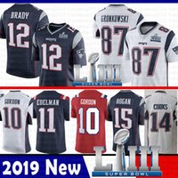 Wholesale jerseys online - 87 Rob Gronkowski Tom Brady Jersey New Patriots Julian Edelman Josh Gordon Brandin Cooks Super Bowl LIII Amendola Harrison