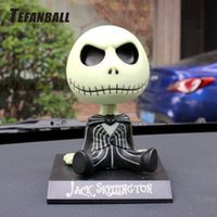 jaque decoração venda por atacado-Enfeites de carro Jack Esqueleto Figura de Ação Tremendo Cabeça Boneca Painel Decoração O Pesadelo Antes do Natal jack Brinquedos Novo