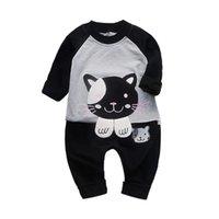 Wholesale baby girl cartoon set resale online - Autumn Set Children Baby Girls Boys Set Casual Long Sleeve Cartoon Cat Sweatshirt Tops Pants Trouser New Arrival