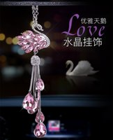 Wholesale decorative crystals hang for sale - Group buy Car Pendant Creative Crystal Swan Pendant Korean Style Cute Car Decorative Mounted Rear View Mirror Hanging Charm Wo