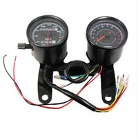 Wholesale motorcycle odometers resale online - Vintage Classic Black LED Motorcycle meter GN CG refit Double meter Odometer Tachometer Motorcycle Modified car
