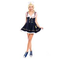 sıcak donanma kıyafeti toptan satış-denizci kadınlar kostüm Kadınlar Fantezi Lacivert Elbise Cadılar Bayramı sıcak satış Kolsuz serin elbise Kostüm Karnavalı takım elbise