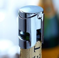 Wholesale used wine bottles for sale - Group buy 300pcs New Arrival Stainless Steel Bottle Stopper Silicone Wine Champagne Stoppers Creative Style Easy To Use