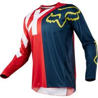 xc bisiklet toptan satış-Toptan MOTO Jersey Motosiklet Formaları Uzun Kollu XC Motosiklet GP Dağ Bisikleti Motocross Forması BMX DH MTB T Gömlek giysi