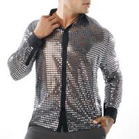 черная полосатая рубашка оптовых-Рубашки высокого качества сексуальный вечер клуб See Through Мужская одежда Этап Игра Рубашки Золото Серебро Черный Sequined Топы
