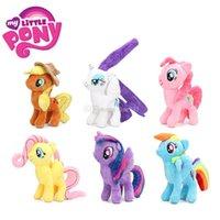ingrosso blu trattino-Hasbro Pony Toys New Pony Amicizia è Magic Unicorn Doll Princess Rainbow Dash Pinkie Pie Fluttershy Pony Peluche Bambole di pezza lol