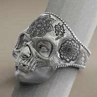 india religiosa al por mayor-Vintage gótico fresco hombres 316L acero inoxidable anillo de calavera al vapor para Mandala Romance joyería religiosa india del anillo del motorista