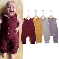Wholesale infant linens for sale - Group buy Baby girls boys sleeveless Solid color romper Newborn infant Cotton linen Jumpsuits summer fashion Boutique kids Climbing clothes C6331