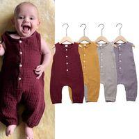 bebek kızı butik kıyafetler toptan satış-Bebek kız erkek kolsuz Katı renk romper Yenidoğan bebek Pamuk keten Tulumlar 2019 yaz moda Butik çocuklar Tırmanma giysi C6331