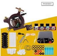 güç kaynakları toptan satış-Profesyonel Dövme Setleri Üst Sanatçı Komple Set 1 Dövme Makineli Tüfek Astar Ve Gölgelendirme Mürekkepleri Güç İğneleri Dövme Kaynağı