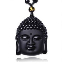 obsidien muska kolye toptan satış-Doğal Siyah Obsidian Oymalı Buda Baş Şanslı Muska Kolye Kolye Kadın Erkek kolye Takı Şifa Hediye