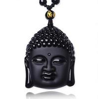pingentes de escultura venda por atacado-Natural preto obsidiana esculpida cabeça de Buda amuleto da sorte pingente de colar mulheres homens pingentes jóias presente de cura